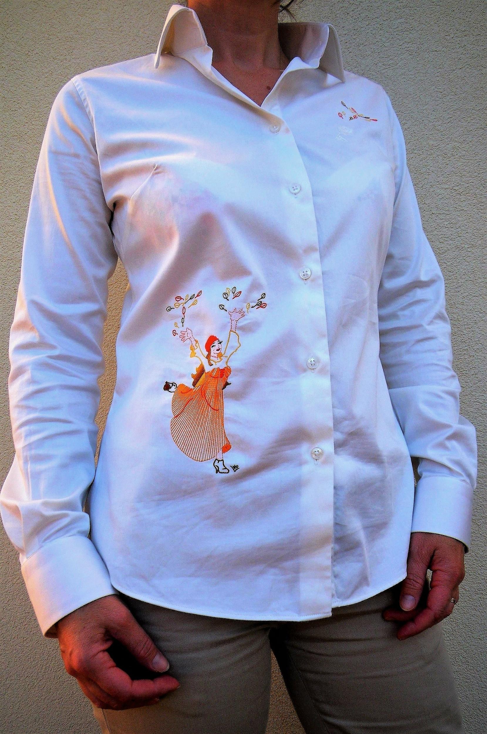 Chemise brodée manches longues en coton pour femme