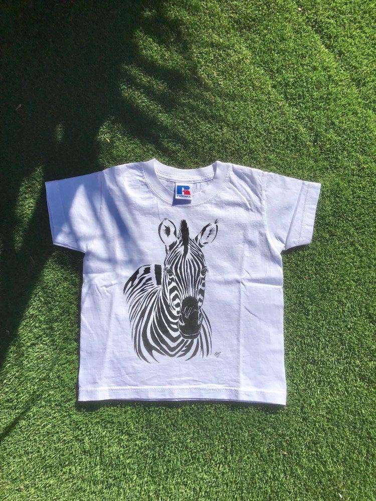Tee-shirt enfant zèbre peint à la main en coton