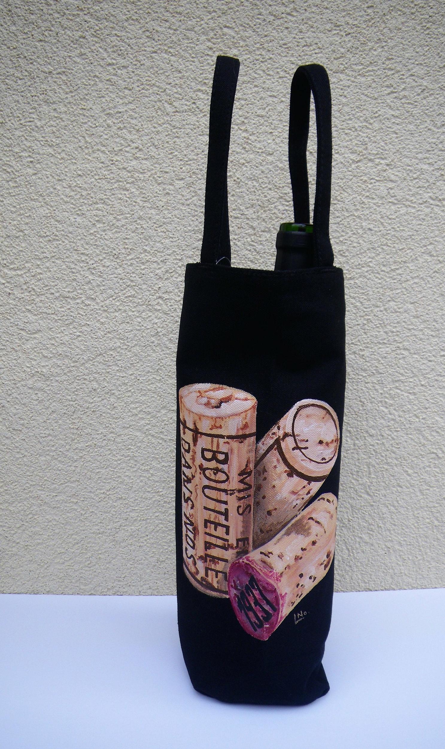 Sac à bouteille peint à la main en coton bio pour homme