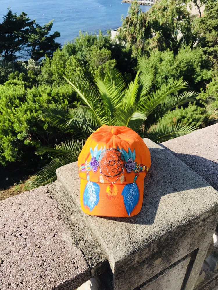Casquette coton orange peinte à la main pour enfant