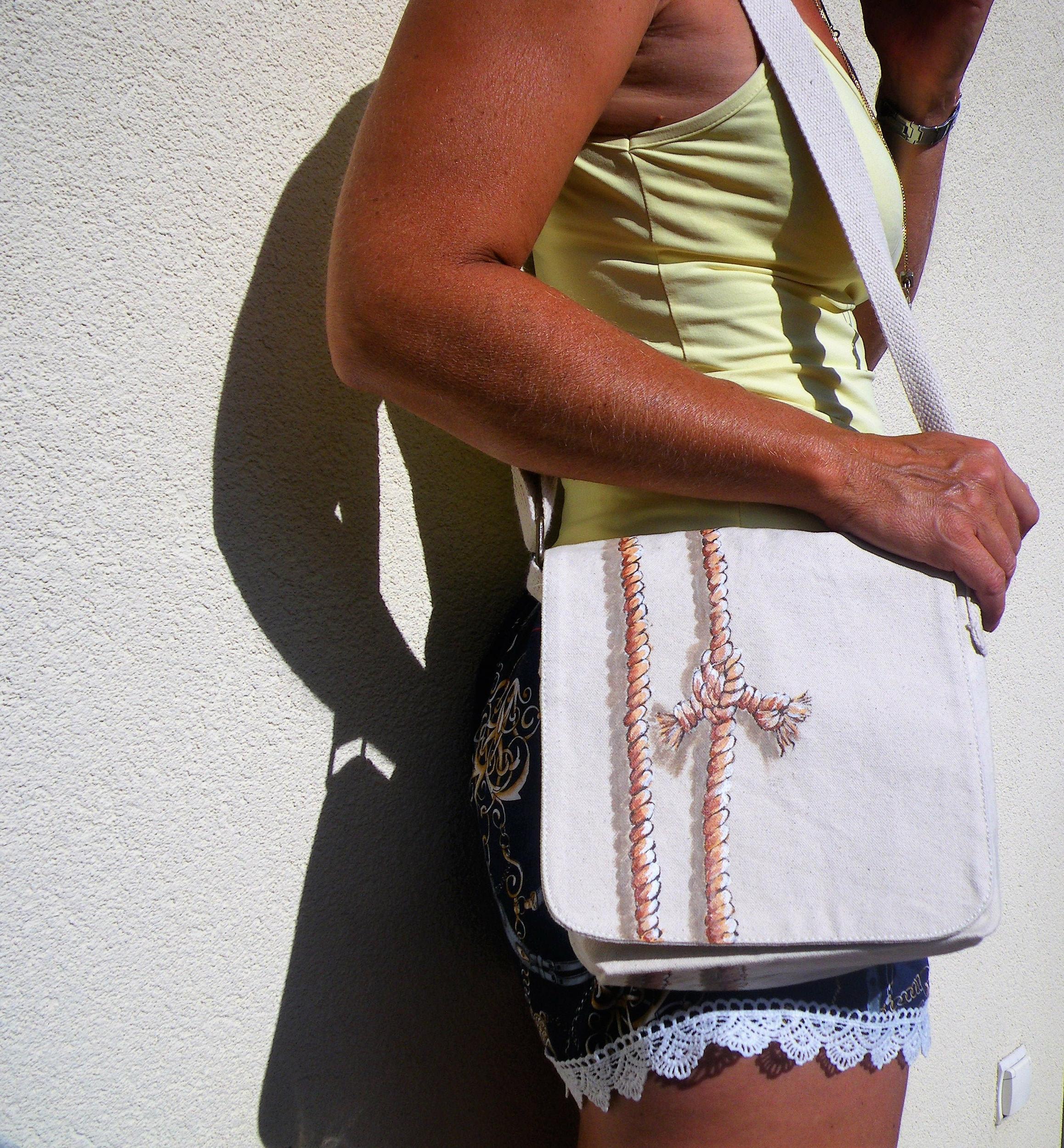 Petit sac marin à bandoulière coton bio pour homme et femme