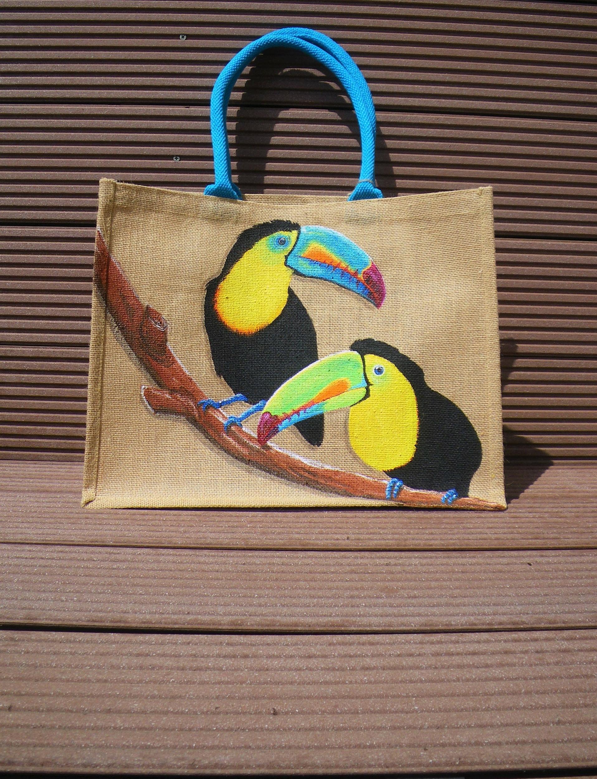 Sac de plage Toucans XL en jute naturelle peint à la main