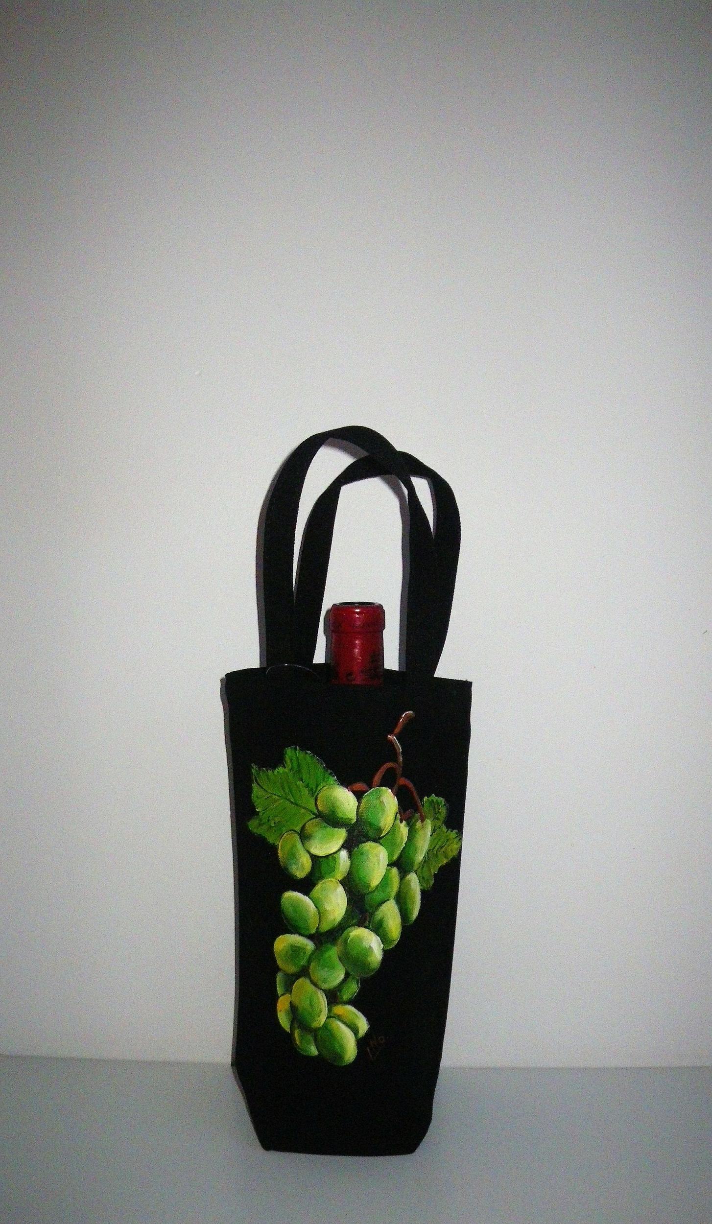 Sac à bouteille peint à la main en coton biologique