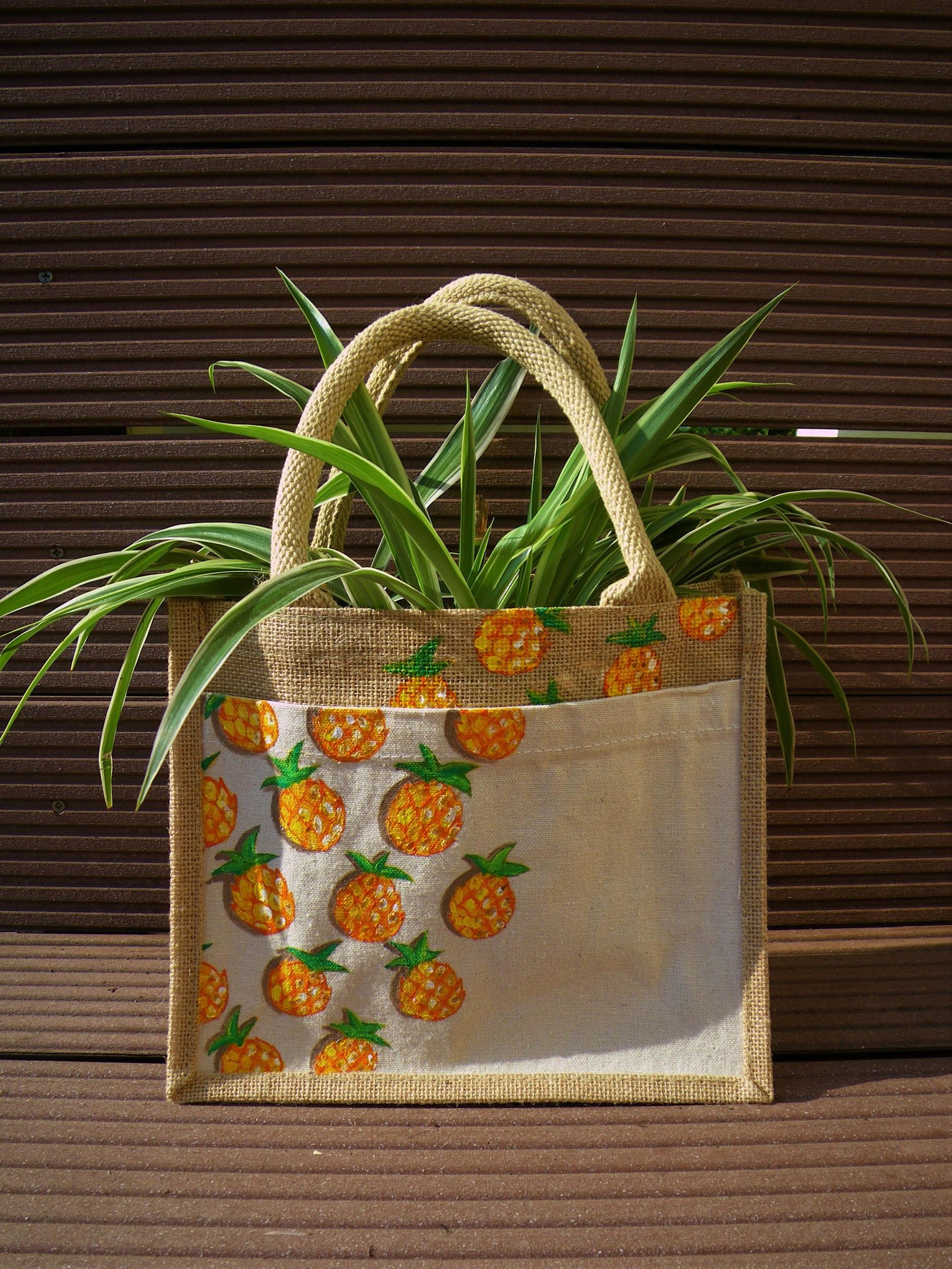 Sac jute et coton ananas peint à la main