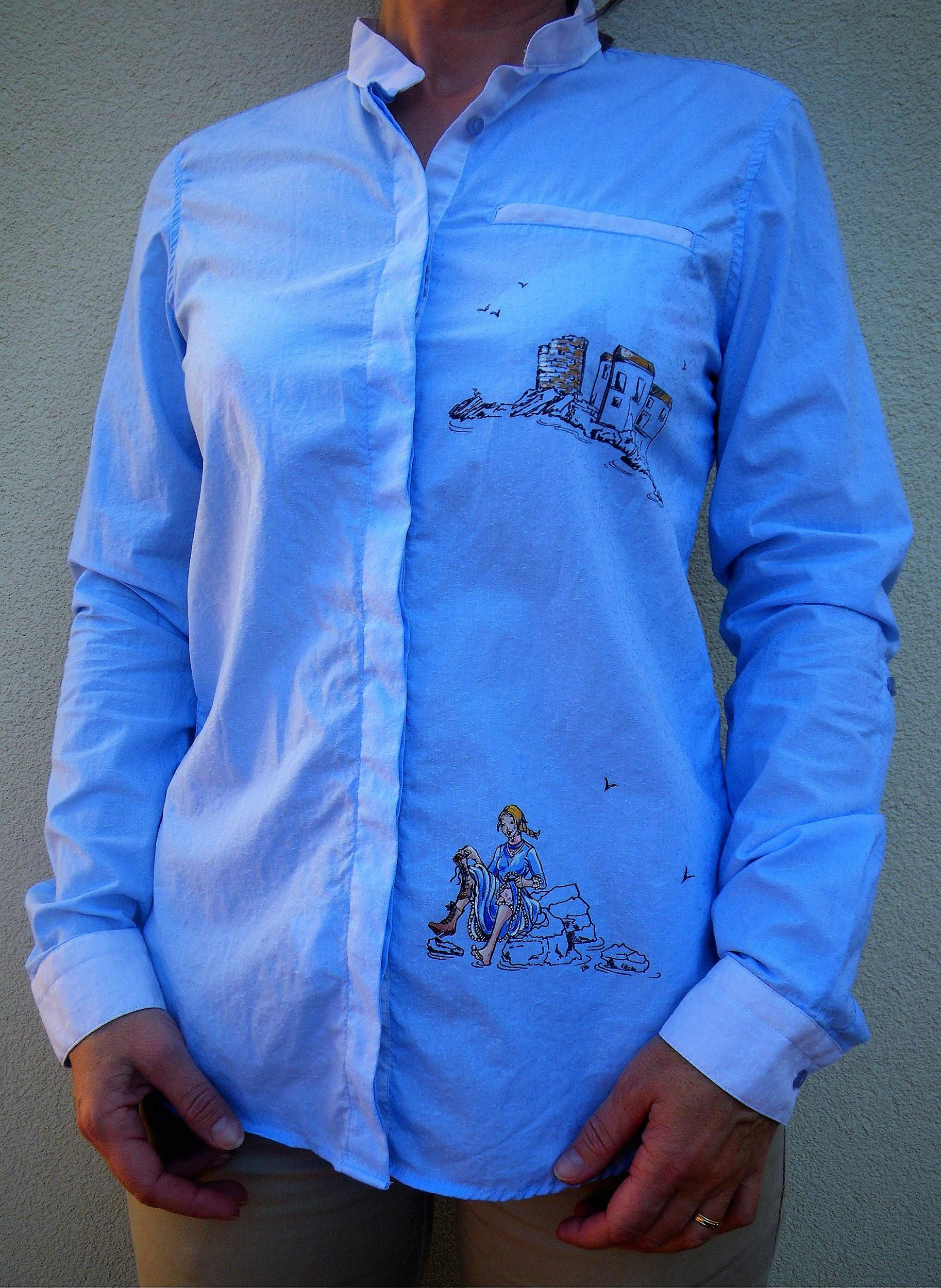 Chemise femme en coton bleu manches longues