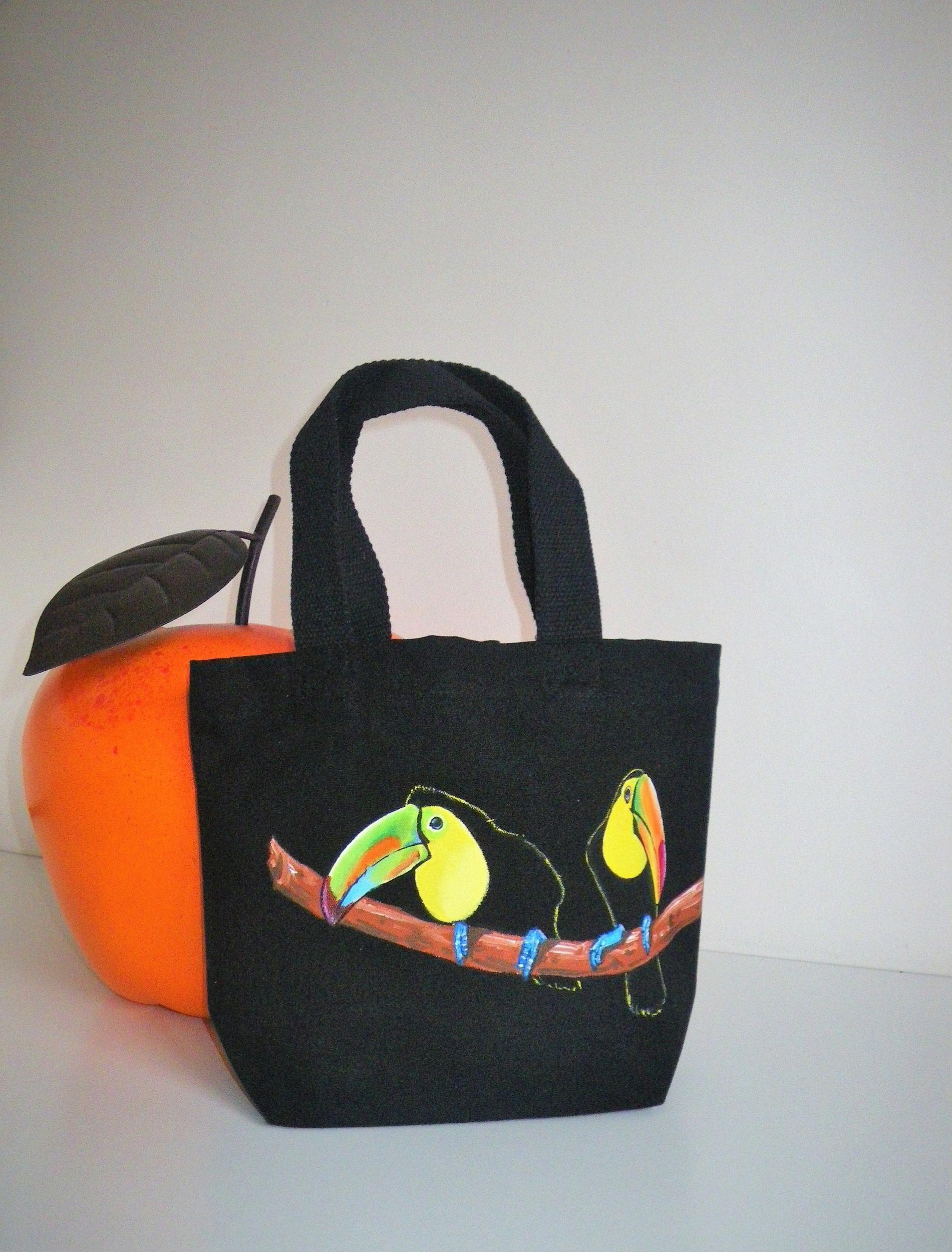 Sac Toucans en coton bio noir peint à la main