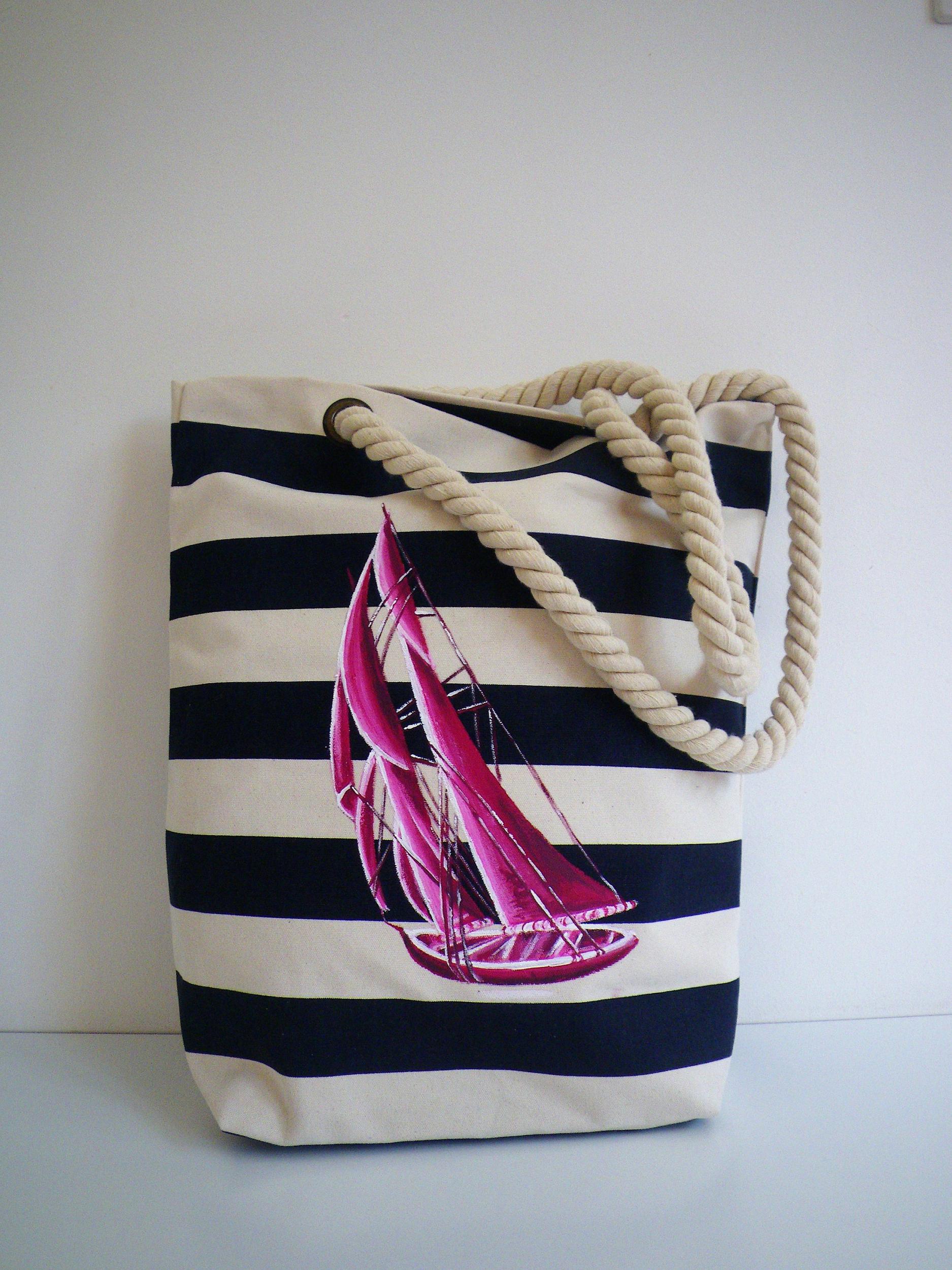 Sac marin en coton bio peint à la main