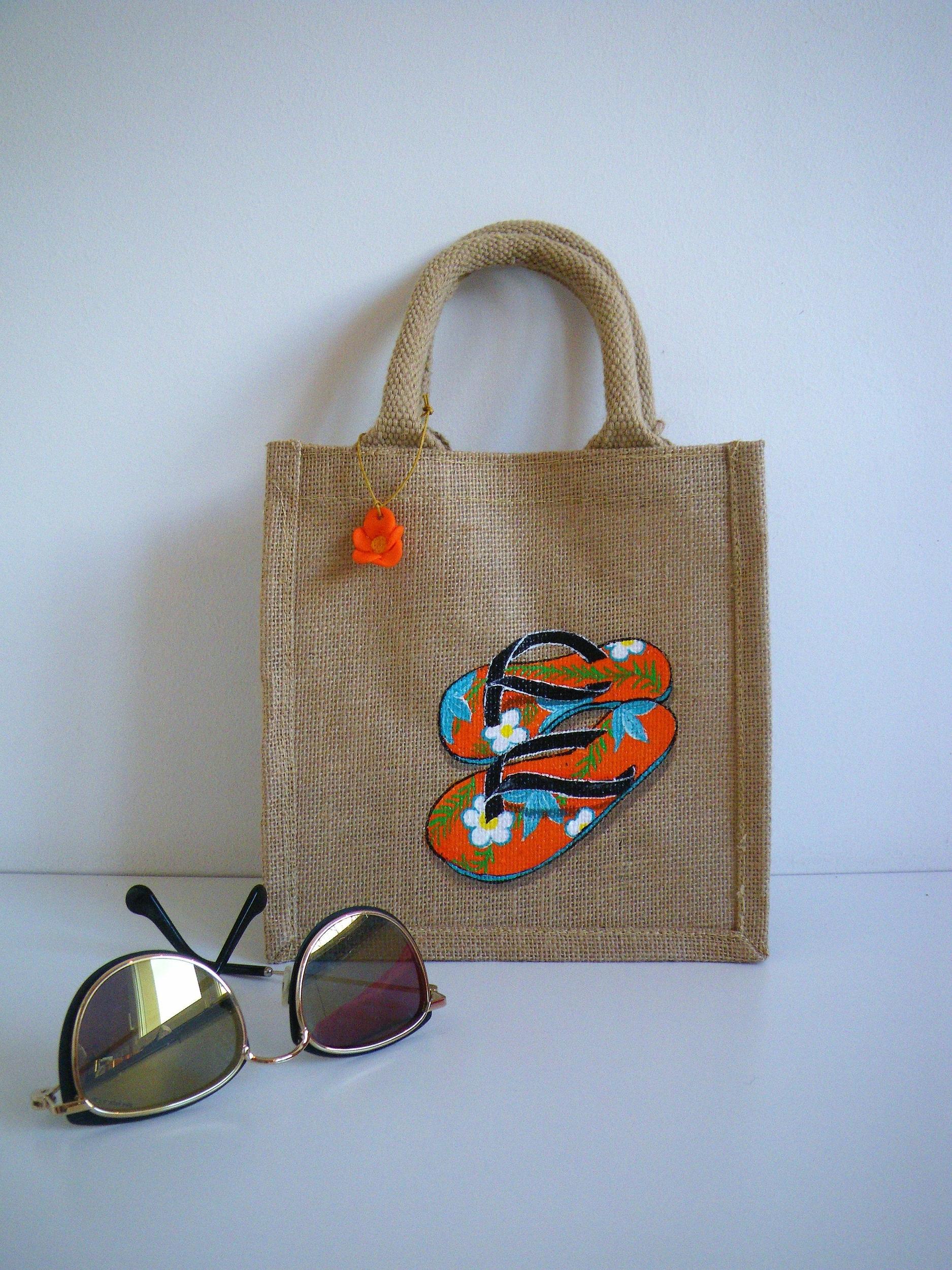 Petit sac peint à la main en jute pour femme