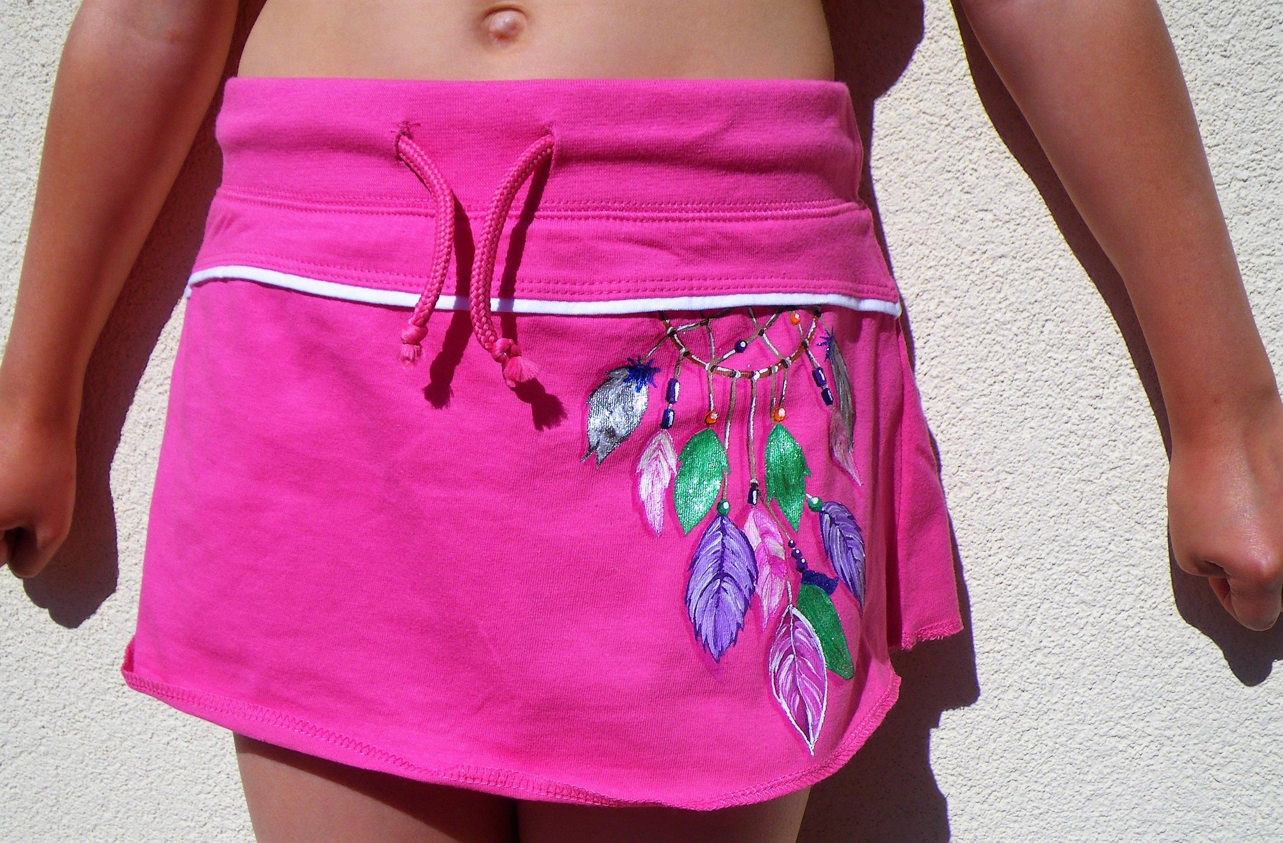 Jupe short en coton peinte à la main pour les filles