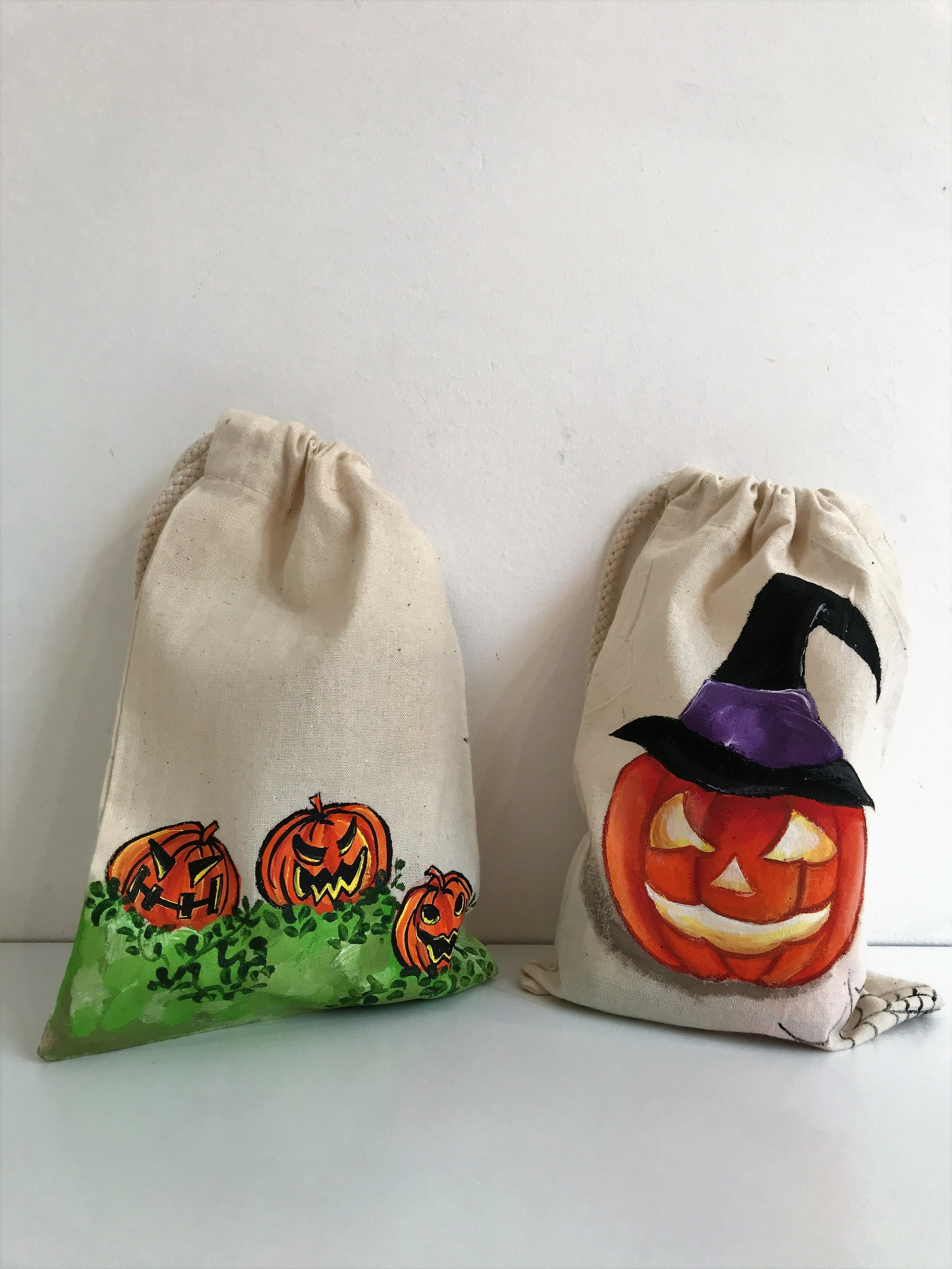 Lot de deux petits sacs en coton pour HALLOWEEN