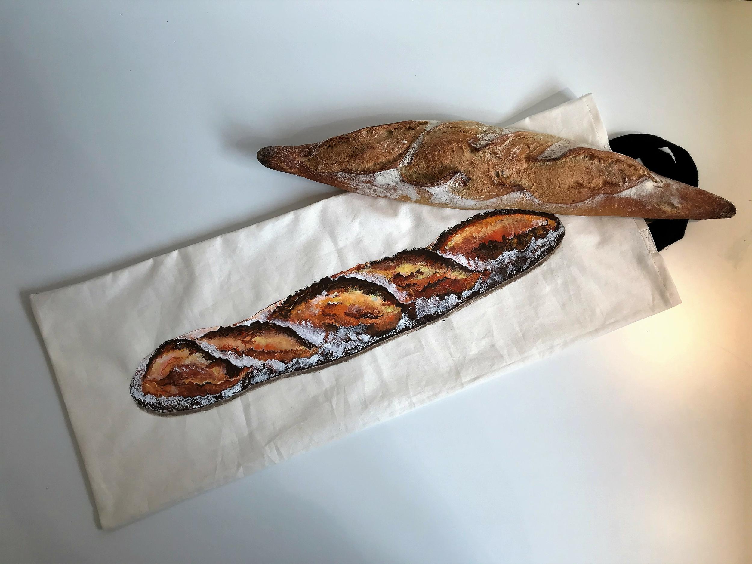 Sac à pain peint à la main