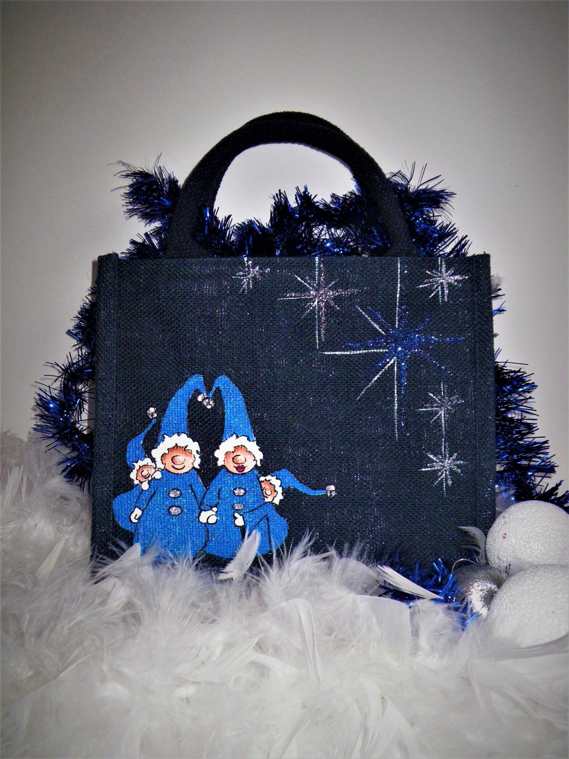Sac en jute bleue avec lutins de Noël