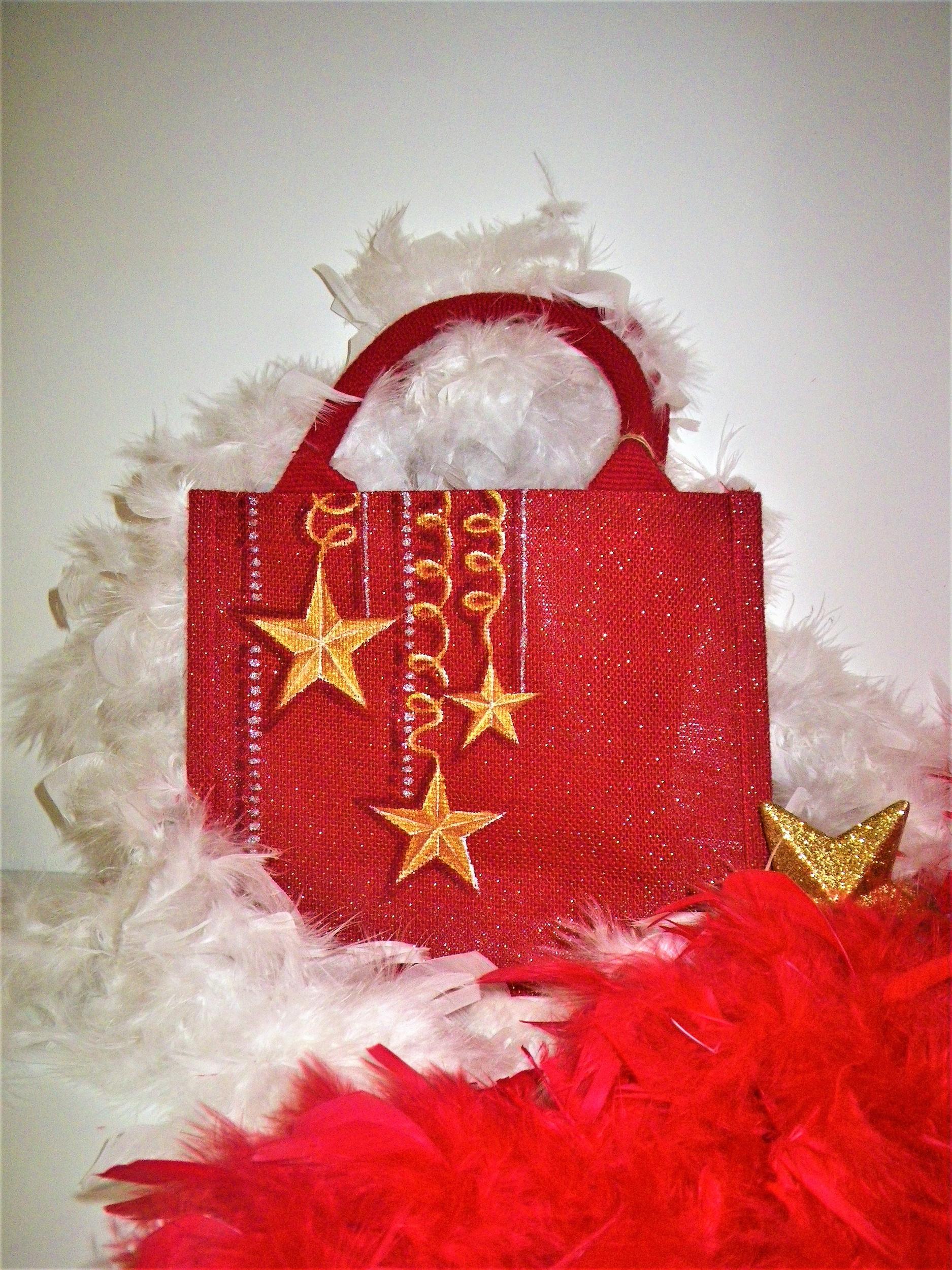 Sac de Noël rouge pailleté avec étoiles