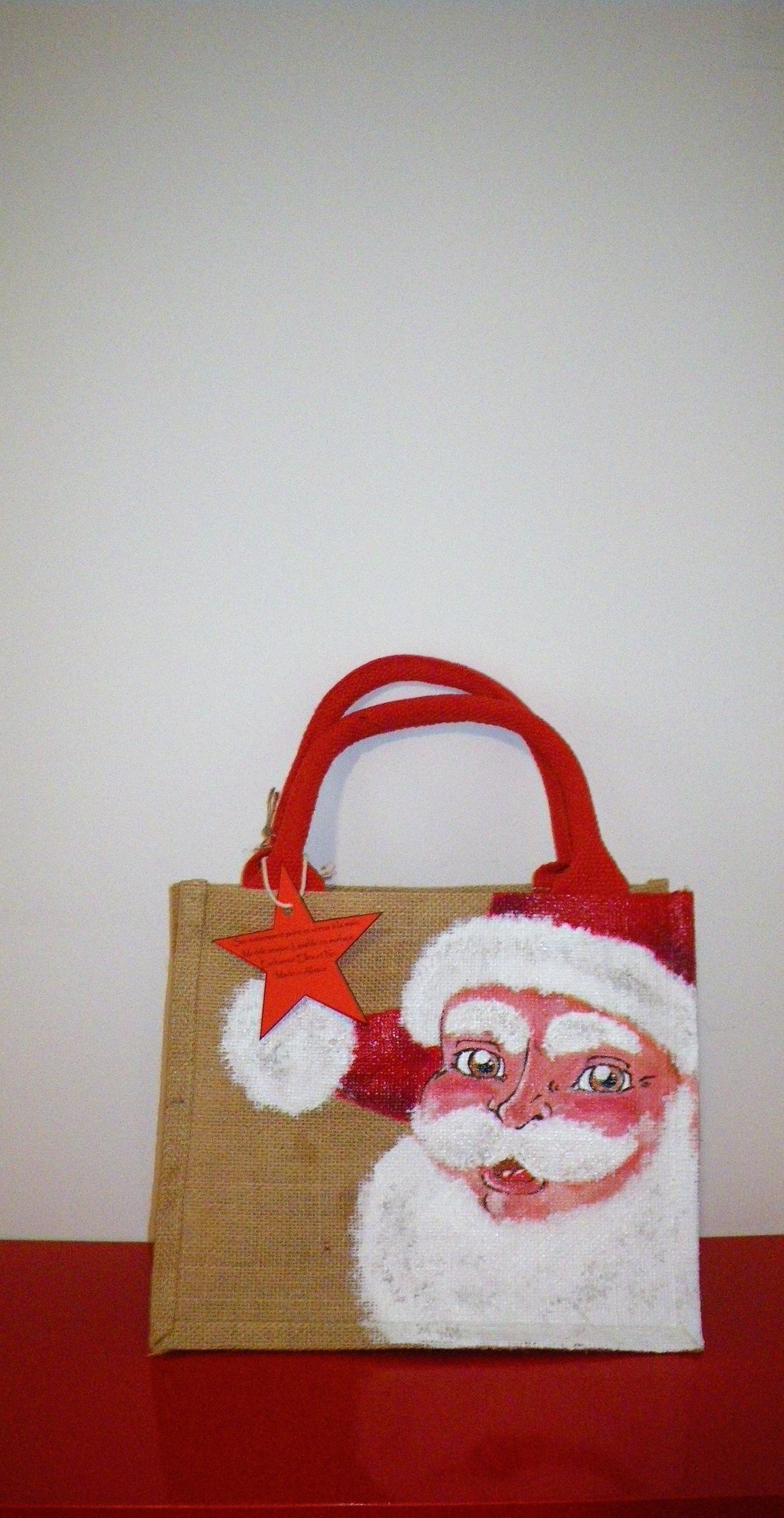 Sac en jute Père Noël peint à la main