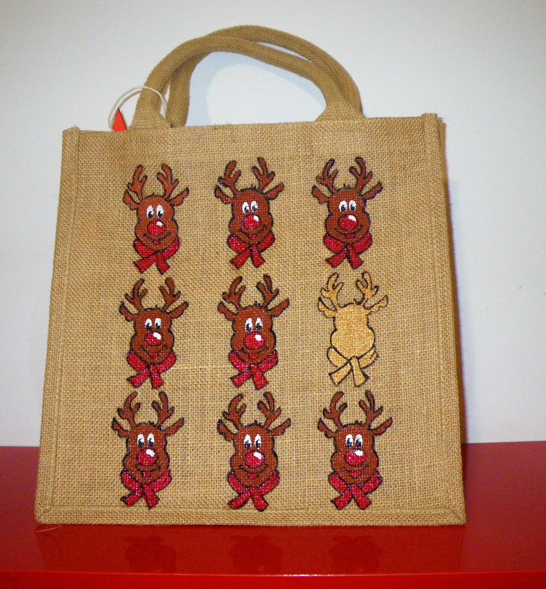Sac jute medium avec rennes rigolos peints à la main