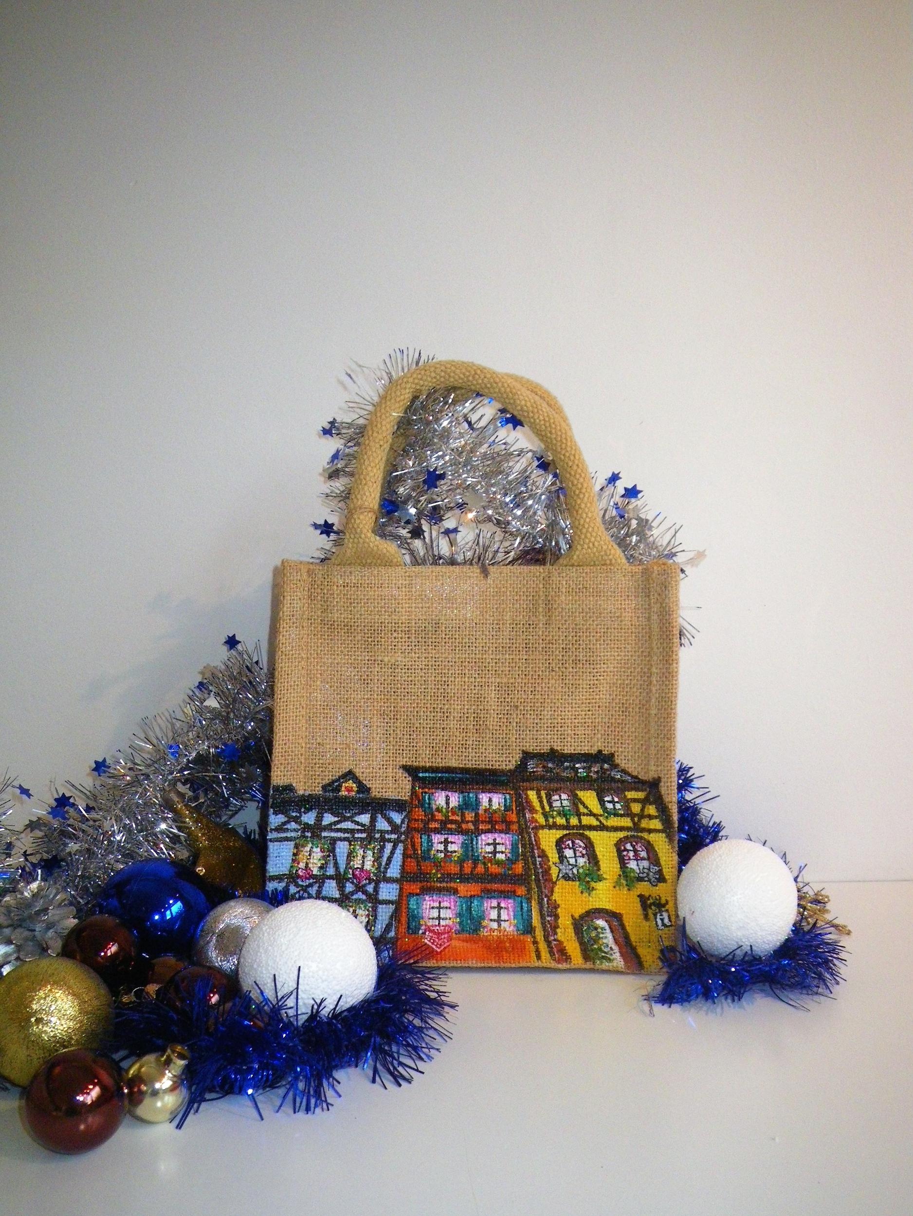 Sac en jute XS avec maisons alsaciennes de Noël