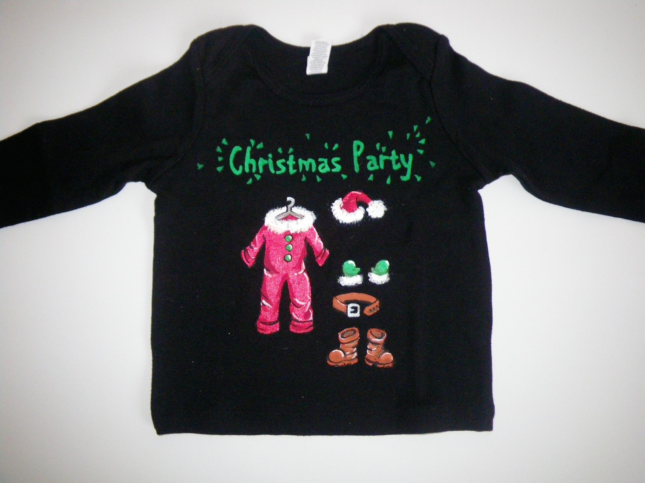 T-shirt noir BB pour Noël peint à la main