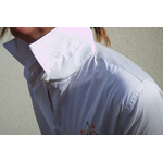 chemise femme beige brodée
