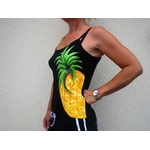 top pour femme noir avec ananas