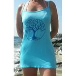 robe plage, nuisette bleue avec arbre de vie