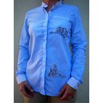 chemise femme bleue col mao imprimée