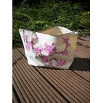 trousse blanche coton bio avec fleurs