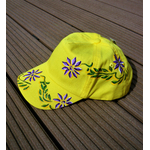 casquette jaune enfant avec fleurs
