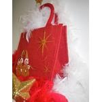 petit sac jute rouge avec lutins de Noël