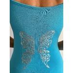 robe bleue avec ailes de papillons dans le dos (4)