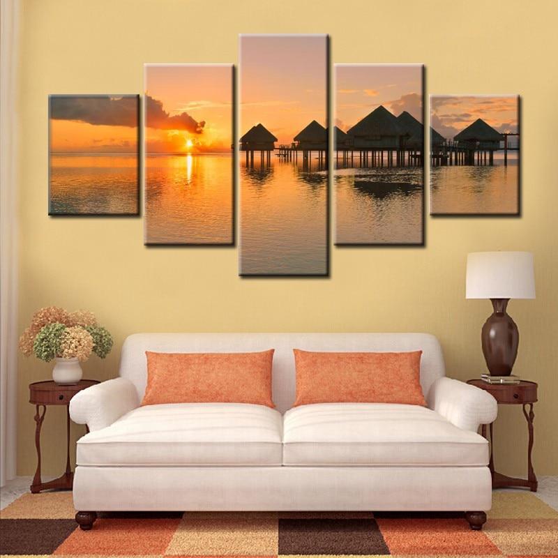 Tableau modulaire Lever de soleil sur le lac