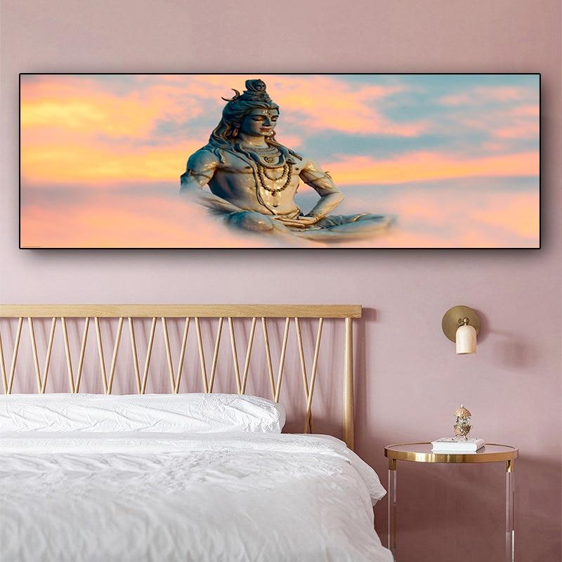 Abstrait-religieux-bouddha-Figure-peinture-l-huile-sur-toile-affiches-et-impressions-scandinave-mur-Art-photo