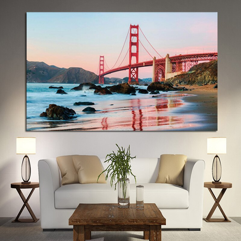 Tableau Le pont du Golden Gate sur la baie de San Francisco