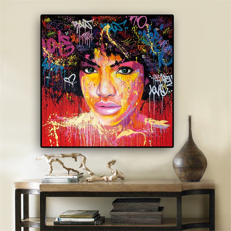 Affiche graffitis Femme afro