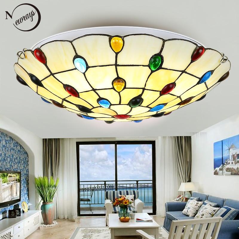 Plafonnier style Tiffany deux lampes