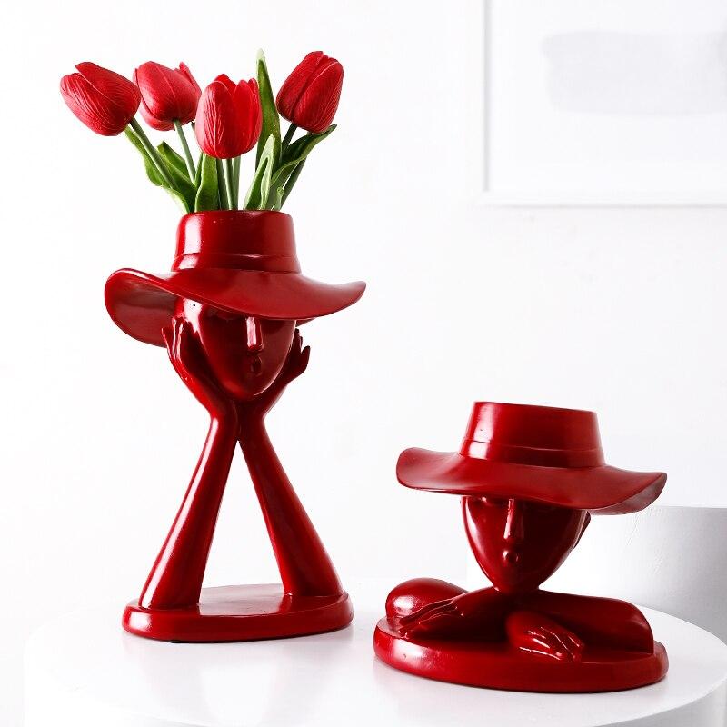 Vases décoratifs en résine rouge