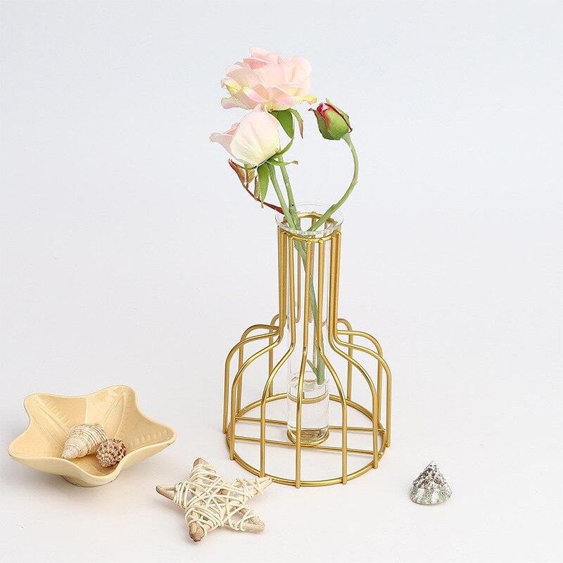 Vase hydroponique métal verre