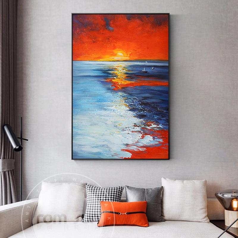 Tableau Bord de mer au soleil levant