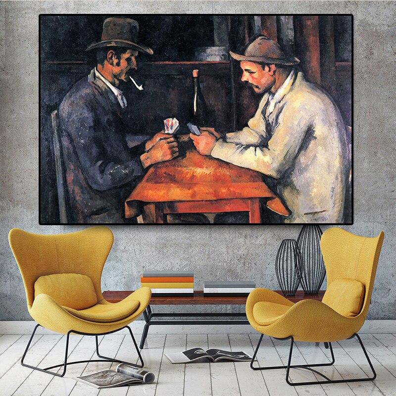 Joueurs-de-cartes-Paul-Cezanne-peinture-l-huile-sur-toile-affiches-et-impressions-mur-Art-photo
