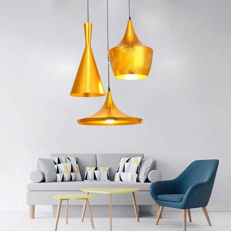 suspension 3 lampes design couleur laiton