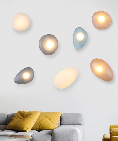 Lampe murale en galets de verre Déméter