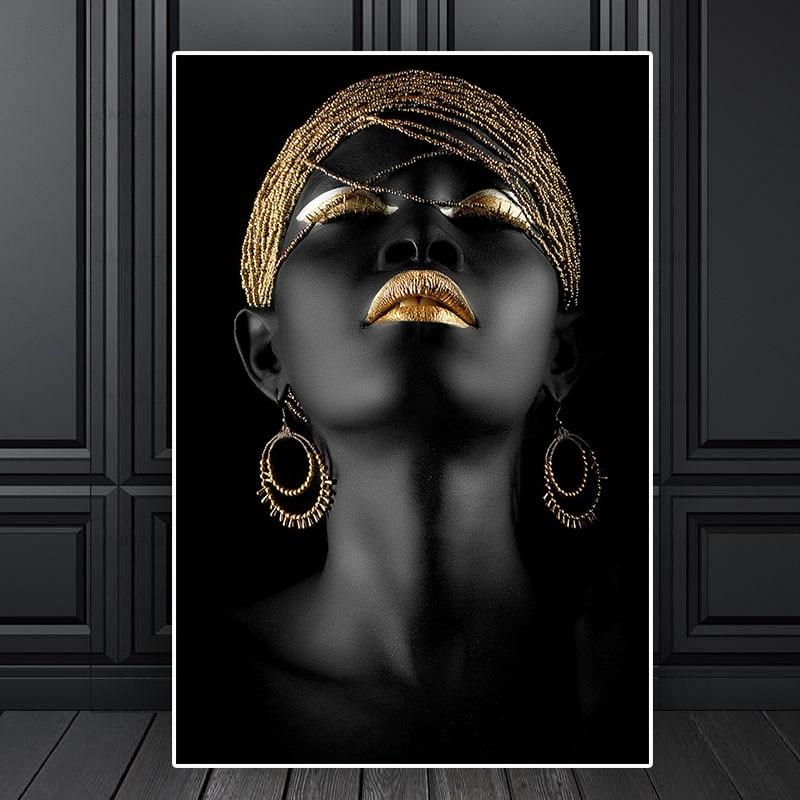 Affiches-et-imprim-s-de-femmes-noires-en-or-Portrait-peinture-l-huile-sur-toile-tableau