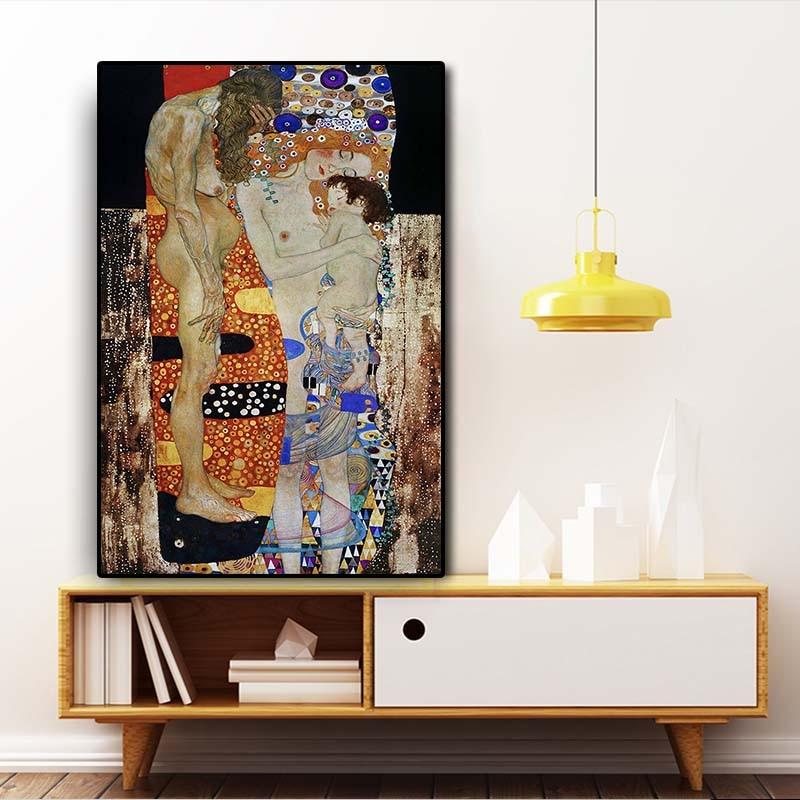 Reproduction du tableau de Gustav Klimt Les trois âges de la femme