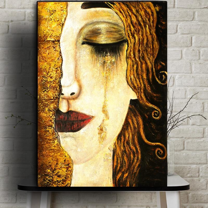 Artiste-classique-Gustav-Klimt-d-chirure-Peinture-l-huile-abstraite-sur-toile-affiches-et-imprim-s