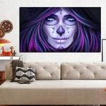 Peinture-l-huile-sur-toile-Tatouage-de-t-te-de-mort-avec-impression-HD-tableau-d