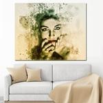 Toile-de-peinture-murale-pour-salon-Imprim-HD-image-abstraite-beaut-aquarelle-visage-de-fille-Pop