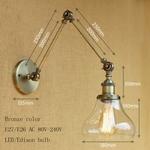Vintage-industrie-Loft-E27-applique-murale-lampe-en-verre-clair-abat-jour-libre-ajuster-longs-bras
