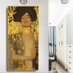 Judith-et-Holofernes-Gustav-Klimt-illustration-classique-impression-toile-peinture-affiches-et-impressions-photos-murales-dor