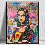 Mona-Lisa-Street-Graffiti-Art-affiches-et-impressions-dr-le-toile-peinture-sur-le-mur-Art