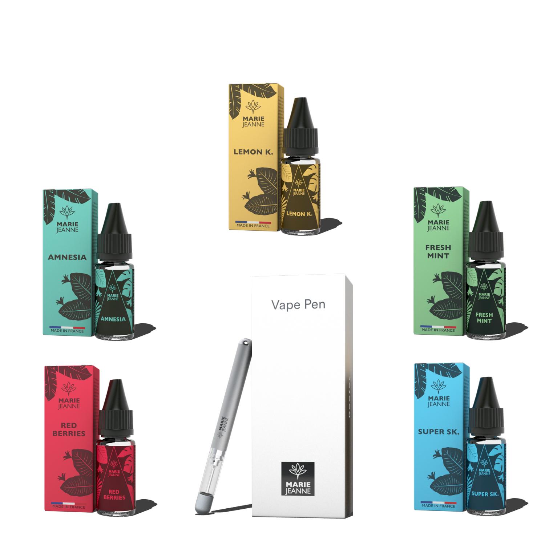 Pack 5 Fioles E-Liquide CBD + E-Pen + 4 Cartouches Rechargeables OFFERTES