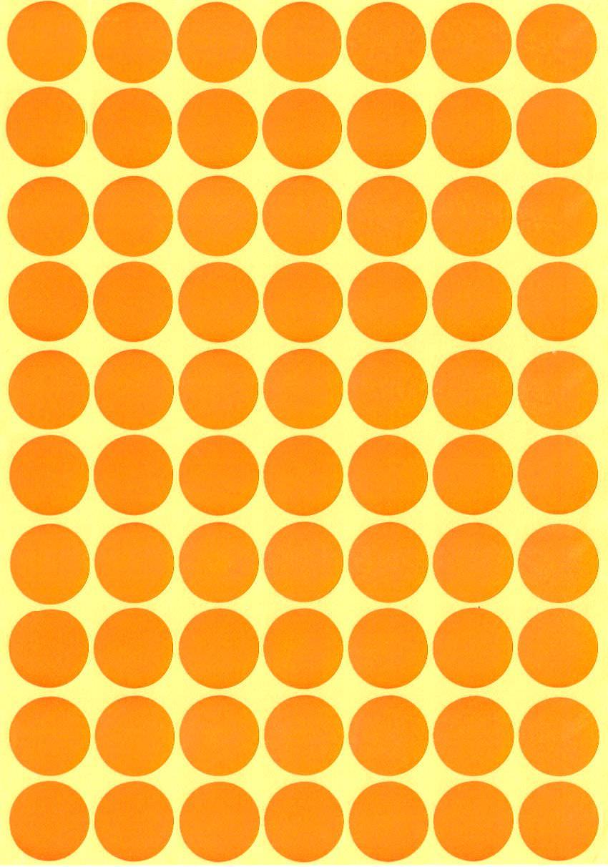 70 Gommettes rondes Oranges 19mm